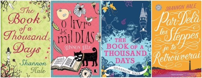 Book of a Thousand Days UK, Portuguese, US, and French covers
